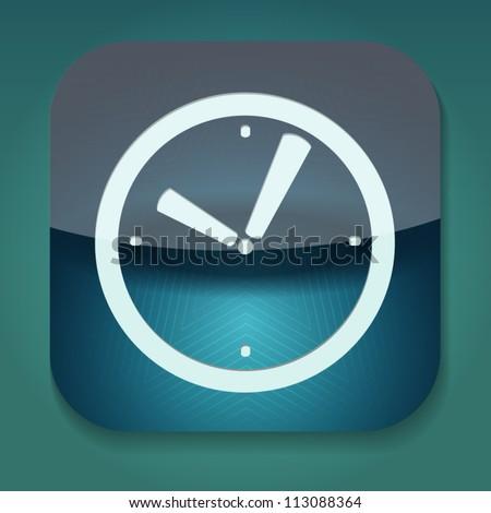 a blue vector icon with clock - stock vector