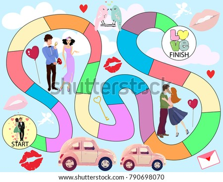Board Game Valentines Day Background Vector Stock Photo (Photo ...