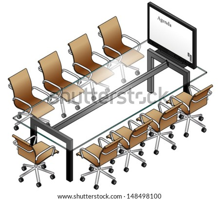 A boardroom setting with a glass table, leather chairs and a smartboard / screen / monitor. - stock vector