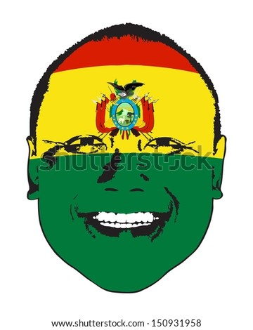 A Bolivia flag on a face, isolated against white.  - stock vector
