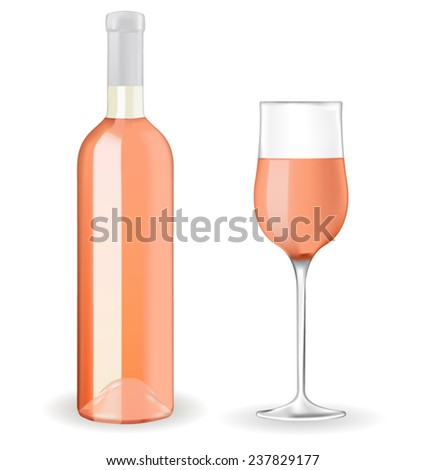 A bottle of rose wine and a glass