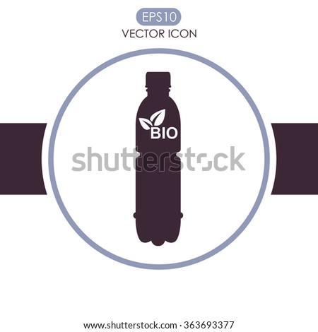 A bottle of water with bio symbol - vector icon.