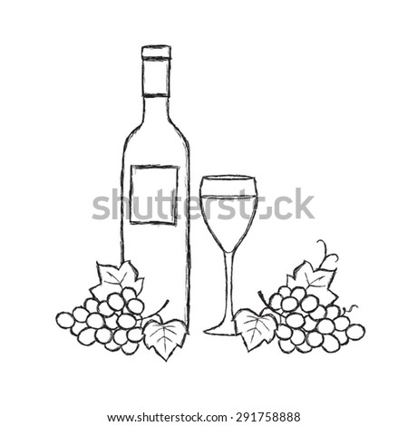 A bottle of wine and a glass sketch, vector illustration isolated , hand - drawn on white background. Wine Bottle and Grapes - stock vector