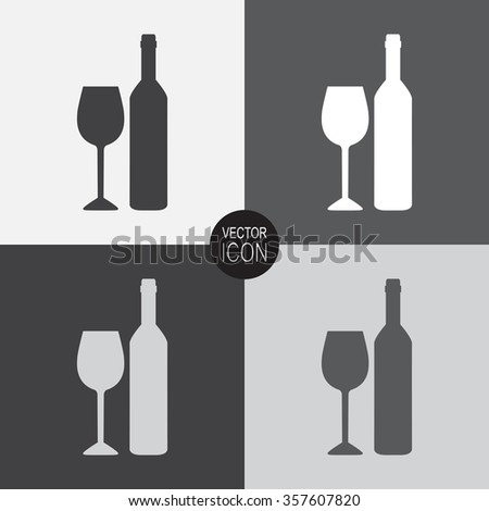 A bottle of wine and a glass vector icon. - stock vector