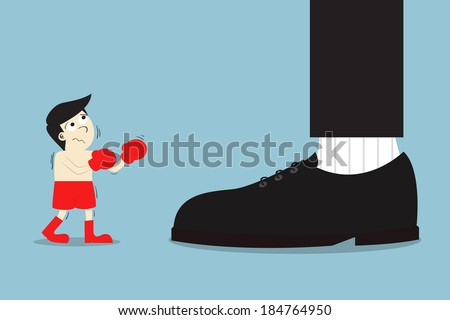 A boxer fight with stronger power opponent, Business concept - stock vector