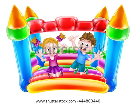 A boy and girl jumping on a bouncy house or infaltable castle - stock vector