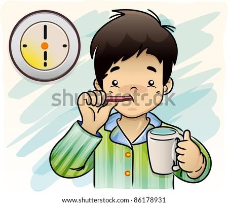 A boy brushing her Teeth - Vector - stock vector