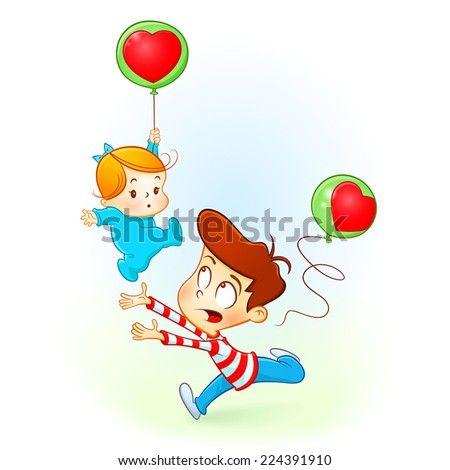 A boy caring of his baby sister. A baby girl falling with a red balloon and her brother watching out for her. Cartoon illustration shows the brother loves his sister. - stock vector