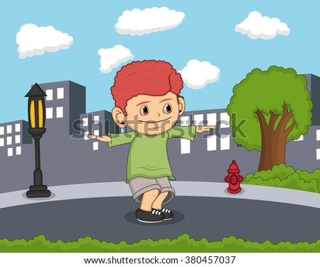 a boy dancing with city background cartoon vector illustration