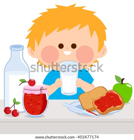 A boy is having his breakfast of milk, jelly, toast, and fruits. - stock vector