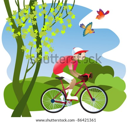 A boy rides a bicycle on a footpath through the fields - stock vector