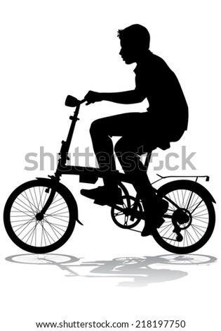A boy rides a bicycle on a walk. - stock vector