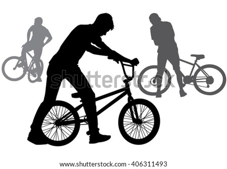 A boy rides a bicycle on a walk.  Silhouette on a white background.