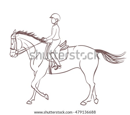 Horse sketch stock images royalty free images vectors a boy riding a horse equestrian training theme illustration vector ccuart Gallery