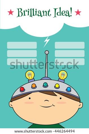 A boy wearing a thinking helmet. Blue background idea list - stock vector