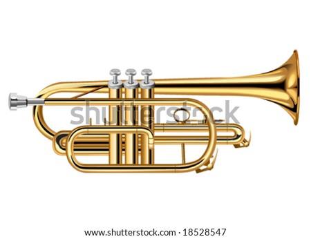 A Brass Trumpet or Coronet - stock vector