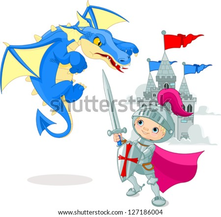 A brave knight fighting with a dragon - stock vector