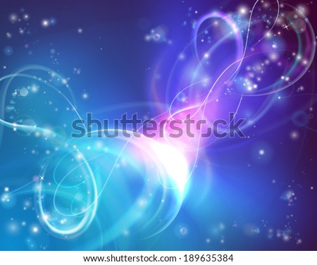 A bright abstract background illustration with swirling lights and stars - stock vector