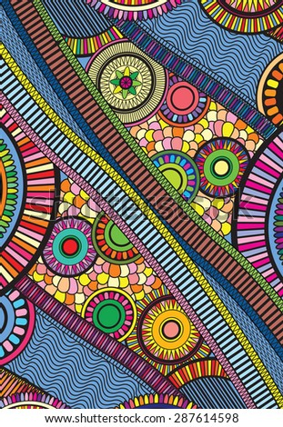a bright and colorful zentangle - stock vector