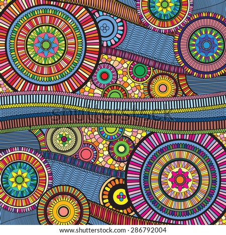 a bright and colourful zentangle  - stock vector
