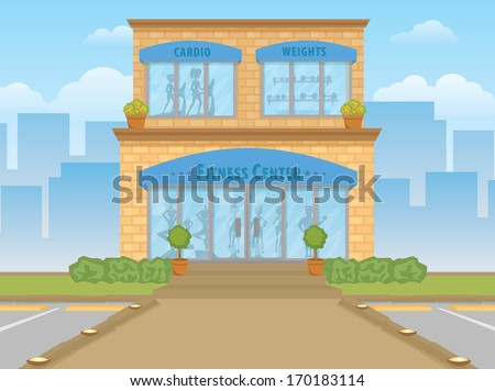 A bright illustrated gym building exterior from the front with silhouettes of people working out. - stock vector