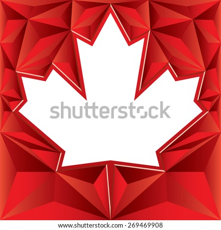 A bright white vector maple leaf is surrounded by a red low poly background. - stock vector