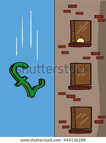 A British pound sign falling past the windows of an apartment block as a metaphor for the value of the pound or a financial crisis - stock vector