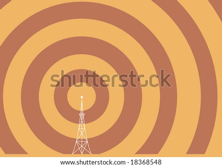 a broadcast tower with transmission waves - stock vector