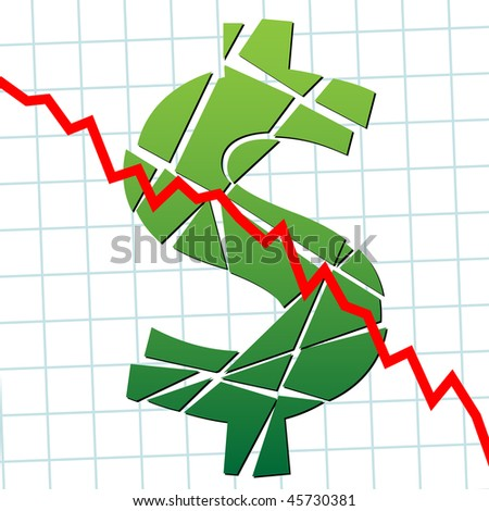 A broken dollar and down chart as a symbol of currency weakness. - stock vector