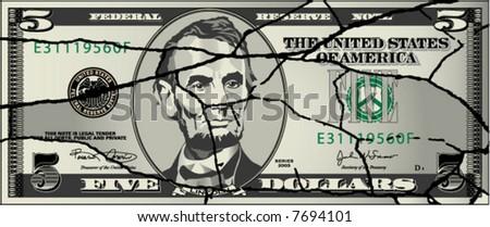 A broken five dollar bill - stock vector