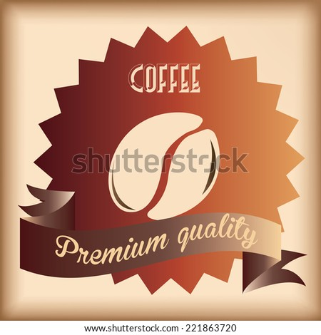 a brown background with a ribbon with text and a coffee bean