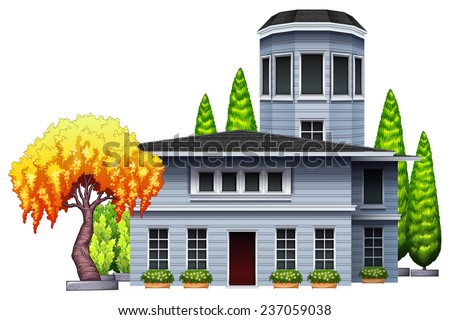 A building surrounded with plants on a white background  - stock vector