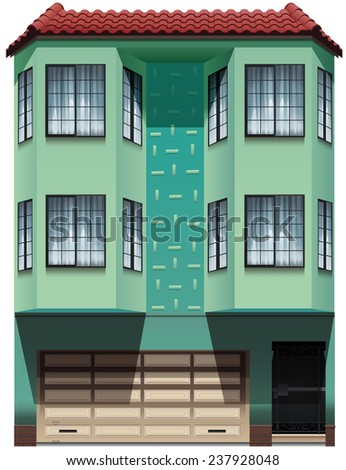 A building with an attached garage on a white background - stock vector