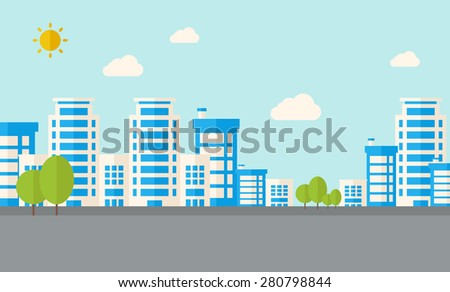 A buildings with trees under the sun. A Contemporary style with pastel palette, soft blue tinted background with desaturated clouds. Vector flat design illustration. Horizontal layout. - stock vector