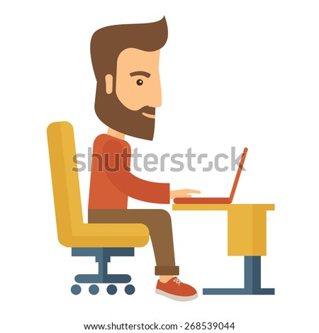 A buisnessman sitting infront of his laptop searching information in computer network. Searching concept. . A contemporary style. Vector flat design illustration with isolated white background. Square - stock vector