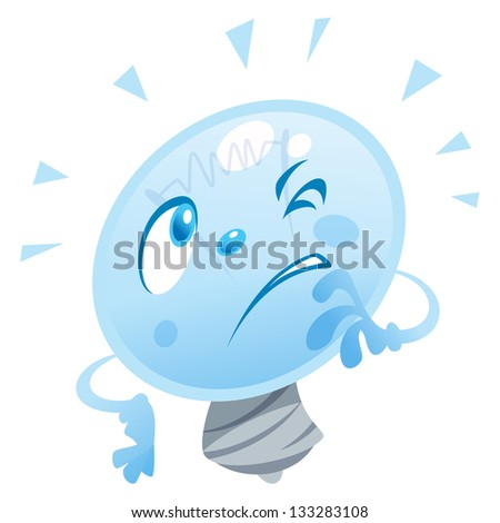 A bulb character is thinking and look puzzled - stock vector