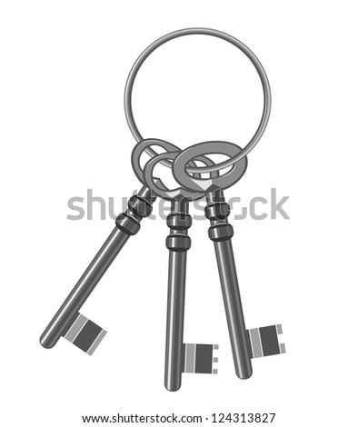 A bunch of old keys. Vector Illustration