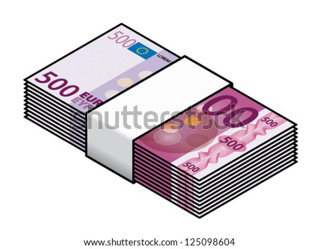 A bundle of colourful 500 Euro bank notes / paper money.