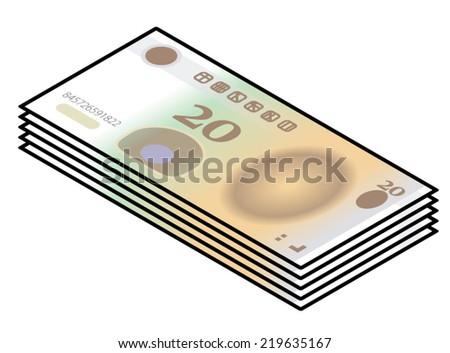 Stylized Iconic 20 Yuan Chinese Renminbi RMB Bank Notes Paper Money