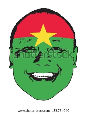 A Burkina Faso flag on a face, isolated against white.  - stock vector
