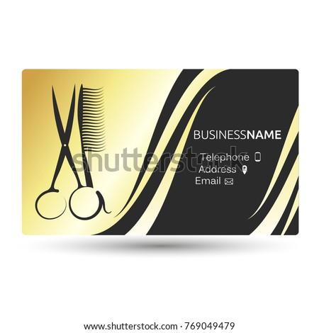 Business card beauty salon barber shop stock vector 769049479 a business card for a beauty salon and barber shop gold color colourmoves
