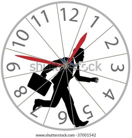 A business man races against time in the rat race as he runs in a hamster wheel clock. - stock vector