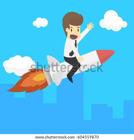 A business man rocket ride is the vehicle, flying high. vector