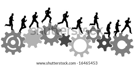 A business man runs in a hurry runs on a set of machine gears. Animation-like sequence of frames. - stock vector