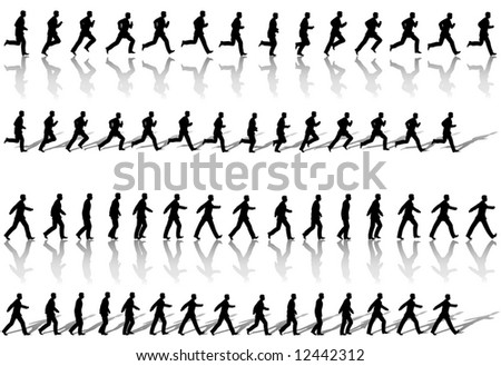 A business man runs & power walks to success in animation' sequence frame loops, with reflection and shadow. Use cels as elements,  sequences as borders. - stock vector