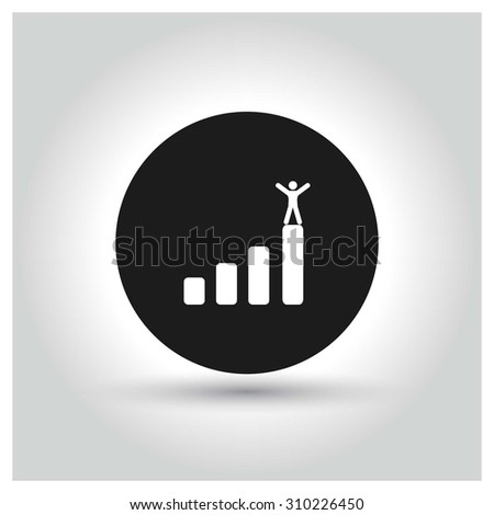 A business man stands up on top of a company graph growth profit chart Icon. Black Circle Pictogram. vector illustration - stock vector