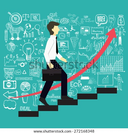 A business man steps up stairs to successful point with business doodles background. - stock vector