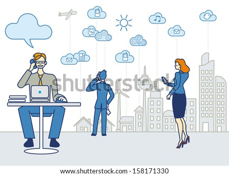 A business man working in an office. He talk on the phone and working with a laptop. Behind him others workers and the skyline of the city with skyscrapers, clouds and symbols of cloud computing. - stock vector