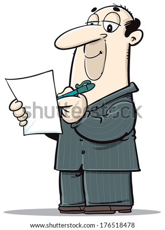 A business man writing, taking notes, taking care of business... - stock vector