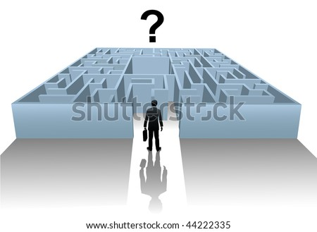 A business person enters an Internet Maze in search of an answer or solution to a question. - stock vector